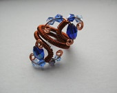 Expandable Blue Swarovski Crystal Ring. None Tarnish Copper Coiled Wire Wrap