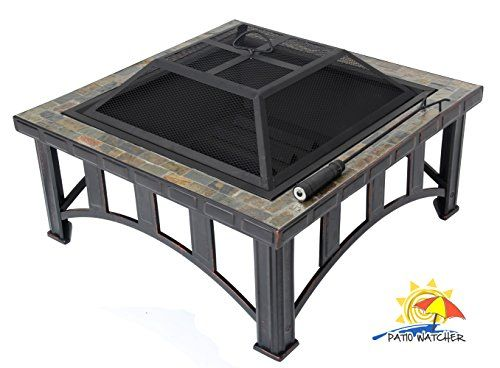 Patio Watcher 30-inch Square Natural Slate Top Fire Pit Outdoor Patio Backyard Metal Stove Firepit Fire Table