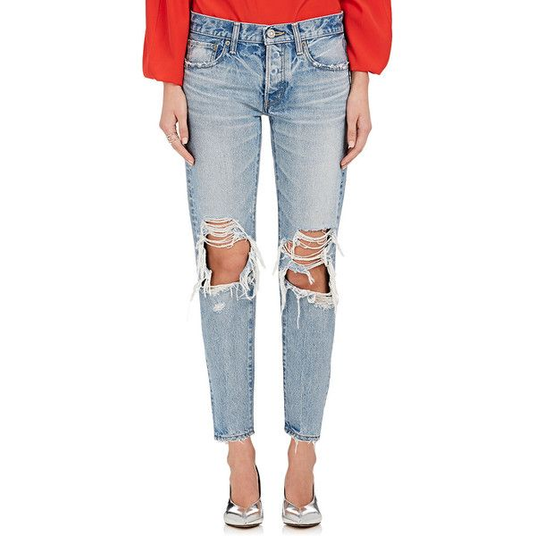 Moussy Women's May Distressed Crop Jeans ($360) ❤ liked on Polyvore featuring jeans, light blue, blue jeans, mid rise jeans, cropped jeans, ripped jeans and button fly jeans
