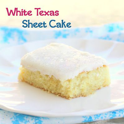White Texas Sheet Cake & Frosting- Ingredients:  1 cup butter   1 cup water   2 cups all-purpose four   2 cups white sugar   2 eggs, beaten   1/2 cup sour cream   1 teaspoon almond extract   1 teaspoon baking soda   1 teaspoon salt    Frosting:  1/2 cup butter, cubed  1/4 cup milk  4 cups powdered sugar  1/2 teaspoon almond extract