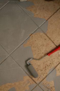 Painting Ceramic Tile Via Little Green Notebook. Painting Bathroom  TilesPainting Tile FloorsPainting ...