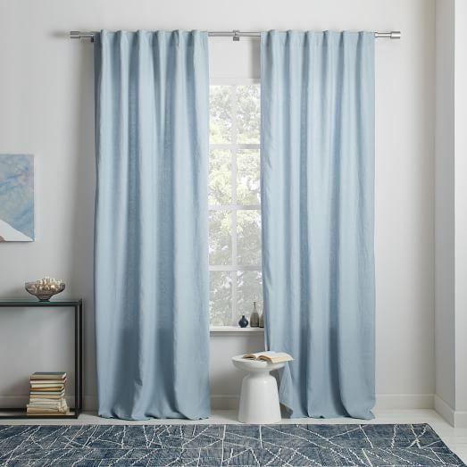 Belgian Flax Linen Curtain Blackout Lining Moonstone
