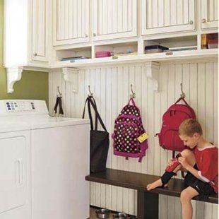 Beadboard with hooks and shelves above. mud & laundry room ideas