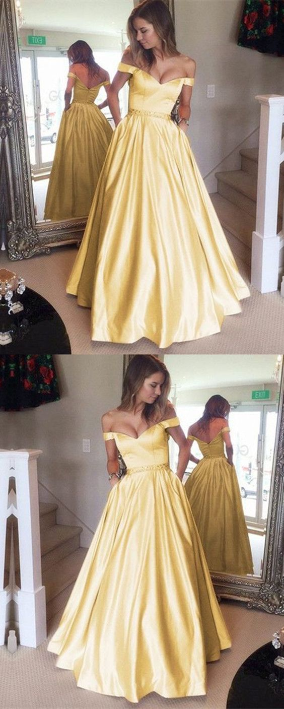 charming v-neck long satin gold prom dresses 2018 off the shoulder evening gowns beaded sashes