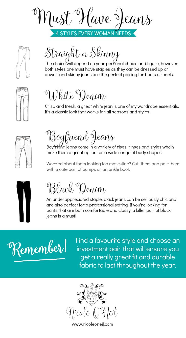 4 Jeans Every Woman Needs in Her Wardrobe – Get my top four must have jeans for women. From street style to office wear, casual outfits and dressy nights on the town, Nicole O'Neil from The Real Housewives of Sydney shares her top denim styling tips to create the perfect outfit in any season.