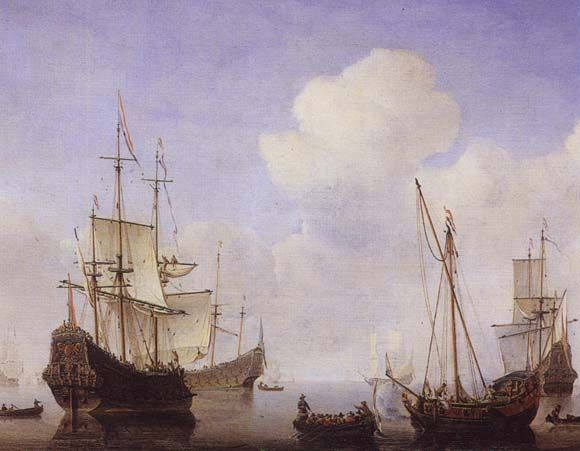 Ships riding quietly at anchor, painted in 1670s