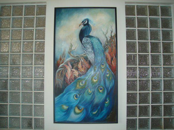 peacock,oilpaint, 1.70x80