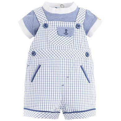 Conjunto de peto con cuadros y camiseta Azul denim - Mayoral 34euros