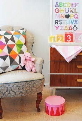 Like the old chair with the geometric cushion