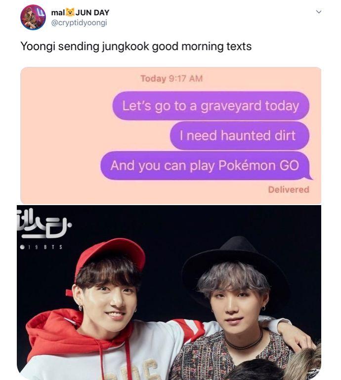 Yoonkook Bts Btsmemes Pokemonmemes Funny Kpop Memes Bts Memes Good Morning Texts