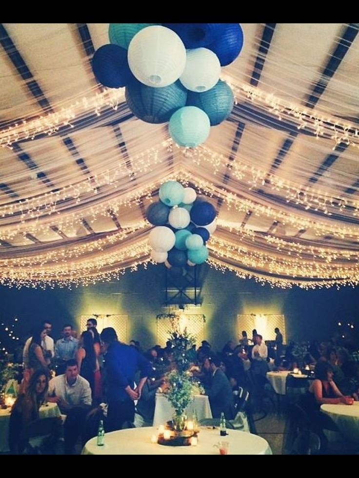305 best wedding ceilings images on pinterest wedding stuff wedding reception tulle and gathered lanterns in blue for a winter wedding junglespirit Images