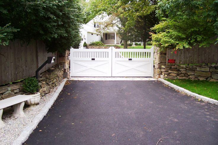 Automated White Wood Driveway Gate Driveway Gates
