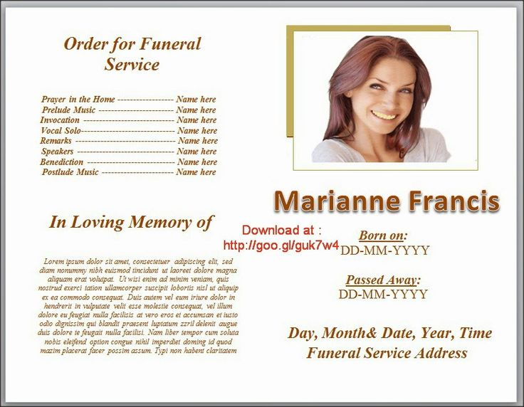 Nice Funeral Program Templates On Pinterest Downloadable Editable In Microsoft  Word With Plain Layout And White Color