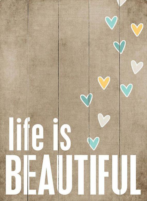 'Life Is Beautiful' Wood Wood Wall Art