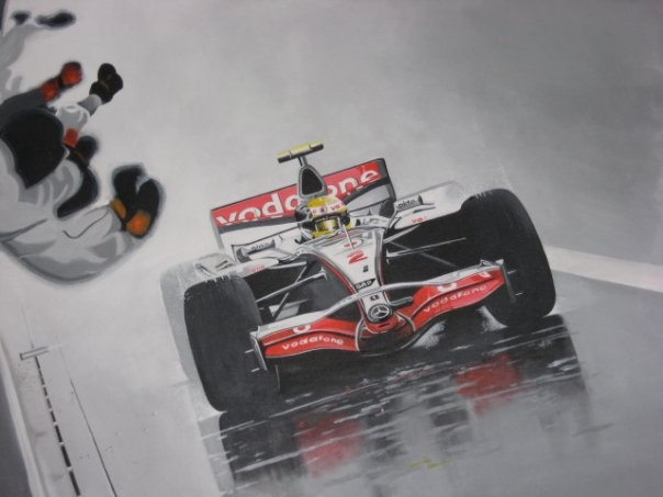 A Lewis Hamilton acrylic on canvas painting from the 2007 Japanese Grand Prix at Fuji.