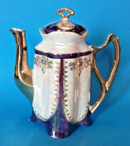 Iridescent-Cobalt-Blue-And-White-Coffee-Teapot-With-Gilding-By-FIC-Co-NY-Germany