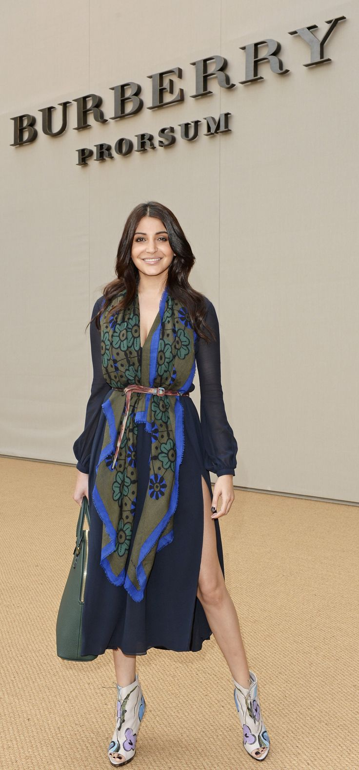 Anushka Sharma wearing a Burberry Prorsum Scarf and Bloomsbury Bag at the S/S15 Runway Show in London