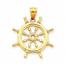 14k Yellow Gold 3D Ship's Wheel Charm :: Ship's Wheel Charms Pendants :: Ship's Wheel Jewelry :: Boating, Fishing, Anchors, Marine Gear :: Generous Gems