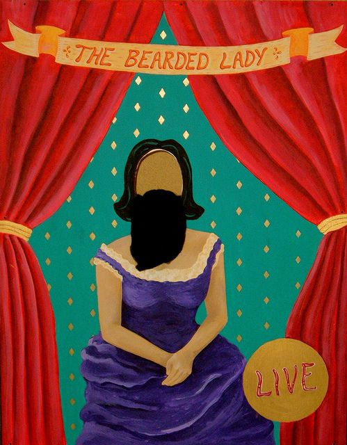 bearded lady photo prop, to go along with the strong man in another pin. Easy DIY project