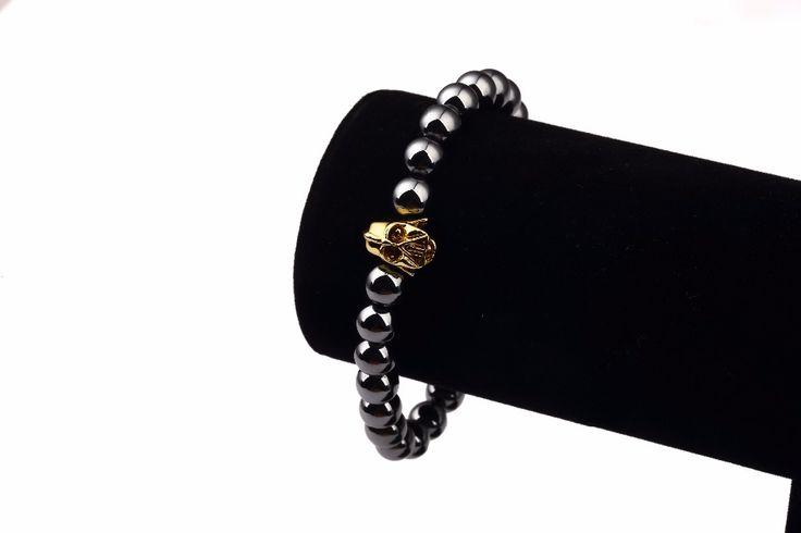Brand new Hip Hop Gold Plated Men Jewelry fashion Hematite link chain bracelet bangles for men women unisex