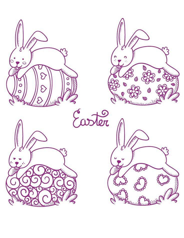 Lapins et oeufs de Pâques gratuit à dessiner