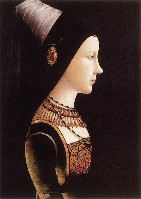 Mary of Burgundy. Ruled the Burgundian territories in Low Countries and was suo jure Duchess of Burgundy from 1477 until her death. Only child of Charles the Bold, Duke of Burgundy, and Isabella of Bourbon. Heiress to the vast Burgundian domains in France and the Low Countries. Painting by Michael Pacher, c. 1490