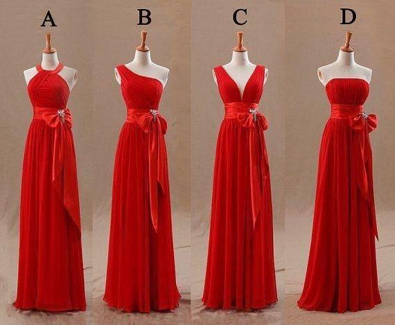 Red Champagne Bridesmaids Dresses Uk Tight Pleats Elegant Bow Knot Chiffon Long Designer Plus size Bridesmaid Party Dresses