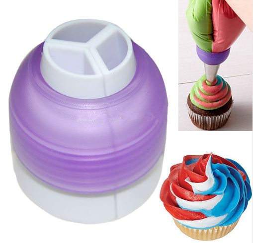3 Color Cake Decorating Nozzle Converter Tool for Icing and Piping Cream blends 3 color icings as you pipe onto any cake. We include the triple swirl nozzles for multi-colored cake icings. The pieces