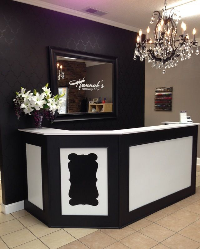 cool Front desk, stenciled wall. Logo on mirror. Love! - Hannah's Nail Lounge & Spa...