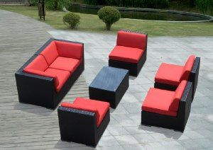Genuine Ohana Outdoor Patio Sofa Sectional Wicker Furniture 7pc Couch Set with Free Patio Cover