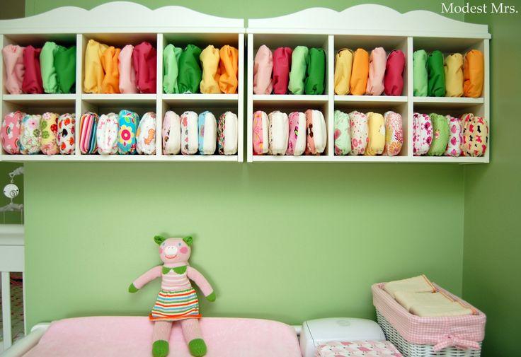 Cloth diaper storage using Ikea shelves.