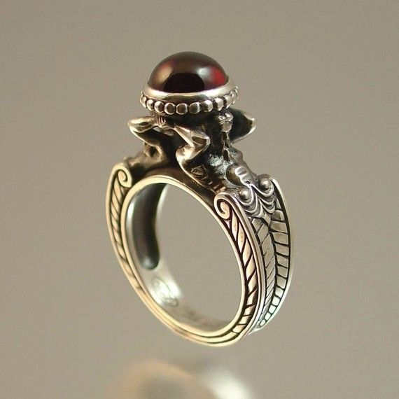caryatid silver ring with garnet ready to ship in by wingedlion