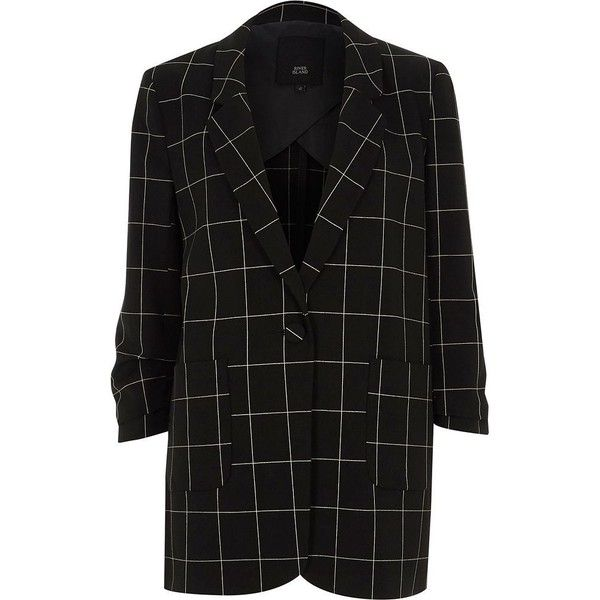 River Island Black check longline boyfriend blazer ($136) ❤ liked on Polyvore featuring outerwear, jackets, blazers, black, coats / jackets, women, checkered jacket, checked blazer, river island and tall blazer