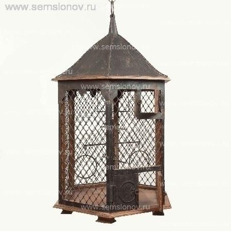 Клетка для попугая шестигранная корпус из массива манго