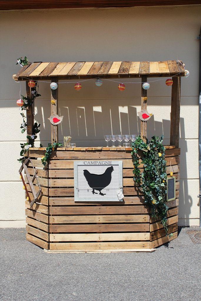 Bar En Bois De Palette : Bar en bois de palette Notre mariage rustique Pinterest Bar