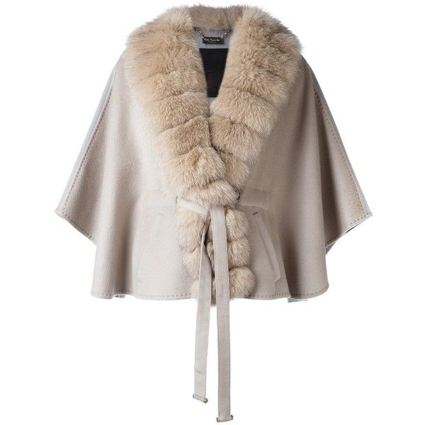 Guy Laroche Fox Fur Lapel Cape ($1,924) ❤ liked on Polyvore featuring outerwear, short cape coat, cape coat, fox fur cape, short capes and brown cape