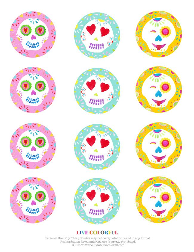 Free Printable Day Of The Dead Cupcake Toppers Free
