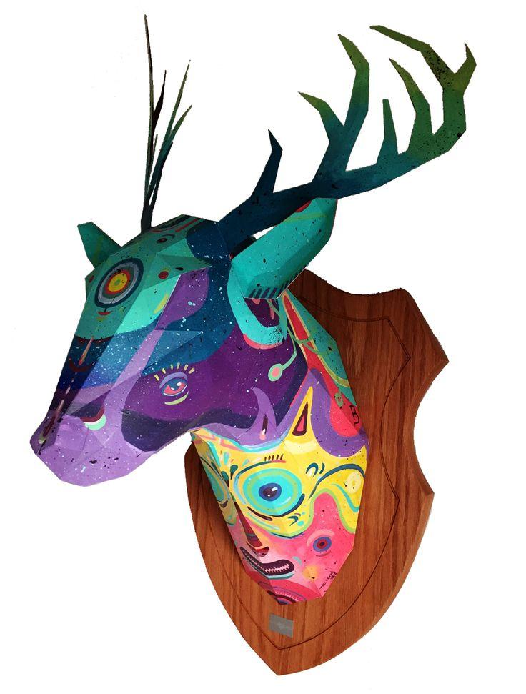 Cabeza de la colecci n papirodermia intervenida por el for Pintor y muralista colombiano