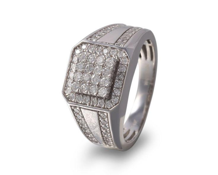 Anillo de caballero oro blanco con diamantes