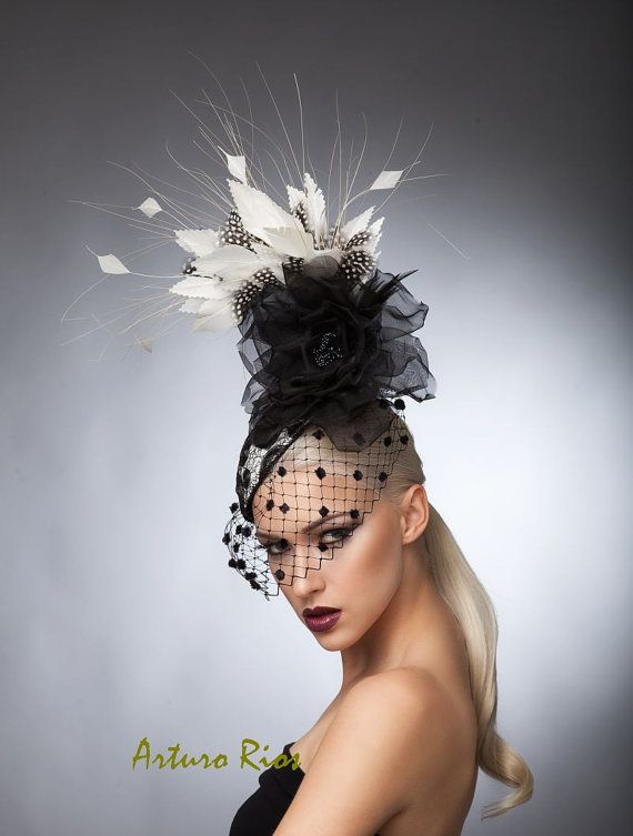 Blackand White Polkadot Cocktail Hat, Fascinator, Derby hat, Melbourne cup hat, Couture headpiece