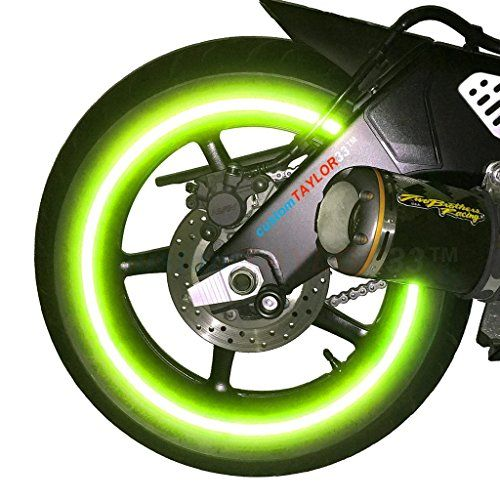 """NEW customTAYLOR33 Special Edition Lime Green High Intensity Grade Reflective Copyrighted Safety Rim Tapes, 17"""" (Rim Size for Most SportsBikes). For product info go to:  https://www.caraccessoriesonlinemarket.com/new-customtaylor33-special-edition-lime-green-high-intensity-grade-reflective-copyrighted-safety-rim-tapes-17-rim-size-for-most-sportsbikes/"""