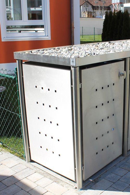 Mülltonnenbox Edelstahl mit Rundpfosten - rostfreier Edelstahl (V2A)