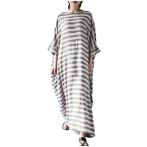 Women's Batwing Sleeve Baggy Striped Kaftan Plus Size Long Maxi Dress... (€8,42) ❤ liked on Polyvore featuring dresses, brown, plus size dresses, long white dress, maxi dress, white caftan and brown maxi dress