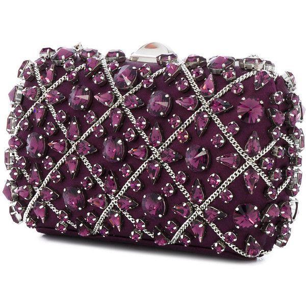 Rodo crystal embellished clutch ($1,119) ❤ liked on Polyvore featuring bags, handbags, clutches, purple handbags, rodo purse, purple purse, silk purse and rodo
