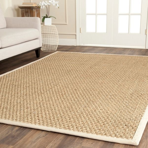Safavieh Casual Natural Fiber Natural and Ivory Border Seagrass Rug (8' Square) | Overstock.com Shopping -