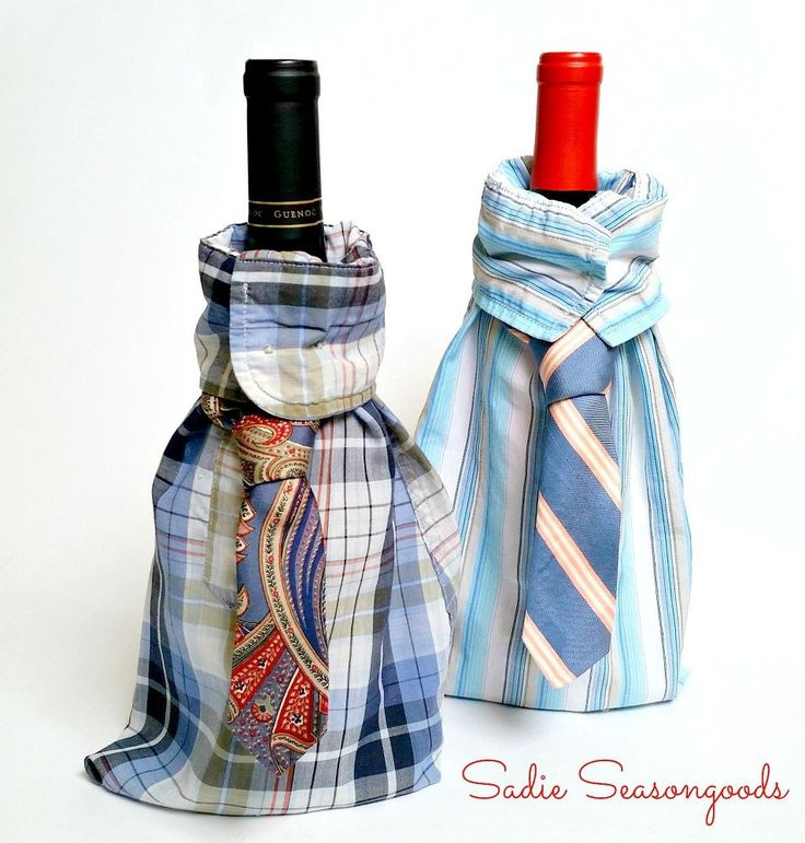 Just in time for Father's Day- use the sleeves from a thrift store dress shirt and the narrow end of a necktie to create these simple, adorable wine/liquor gift…