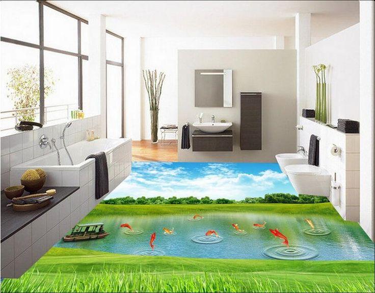28.90$  Watch here  - Custom photo 3d flooring mural self - adhesion picture wall sticker Creek grass carp vessel painting 3d room murals wallpaper