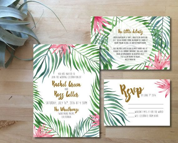 Printable Wedding Invitation Set | Wedding Invite + RSVP + Insert card |  Watercolor, modern, botanical, tropical, pink, green | Hawaï