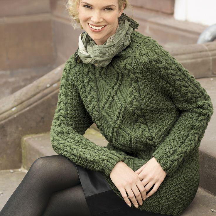 Джемпер с аранами и косами - схема вязания спицами. Вяжем Джемперы на Verena.ru