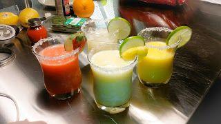 Happy #NationalMargaritaDay: I call them The Sisters #havecocktailswilltravel, blended, fruit, homemade mix, lemon, lime, national margarita day, on the rocks, orange, papaya, patron, pineapple, pineapple juice, salt, salted rim, strawberry, tequila